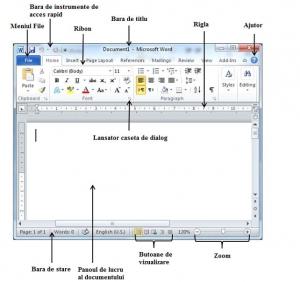 39. Ȋn ecranul de lucru al aplicaţiei Word 2010, bara de instrumente de acces rapid (Quick Access Bar):