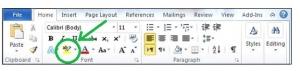 42. Butonul indicat în imagine ne permite să transformăm culoarea literelor textului selectat în galben fosforescent.