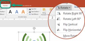 30. Dacă vrem să rotim în PowerPoint un obiect apelăm la comanda Rotate (Rotire) care ne permite rotirea la un unghi clar precizat, Această comandă se află în: