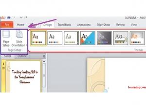 29. Ȋn aplicaţia Microsoft PowerPoint, grupul Page Setup (Setarea Paginii) din ribbonul Design (Proiectare) este folosit pentru a: